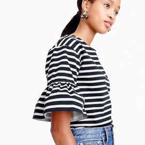 J Crew Ruffle Sleeve Top Black and White Small